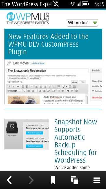 WPMU Homescreen in Symbian Belle Browser