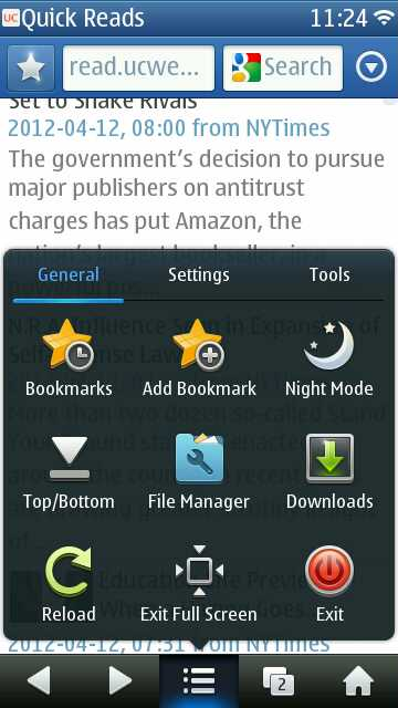 UC Browser 8.2 N8 Symbian Touch Menu
