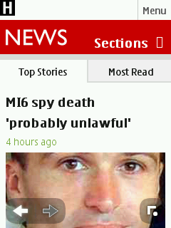 The BBC's new mobile site in the Nokia S40 proxy browser