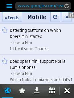Nokia S40 - Top navigation bar and bottom menu bar
