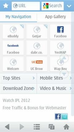 UC Browser 8.4 Start Screen on Nokia N8