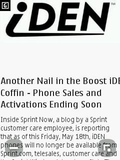 Nokia S40 Browser - Zoomed in on prepaidphonenews.com desktop site