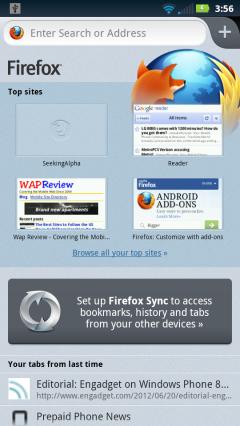 Firefox Mobile 14 - Start Screen