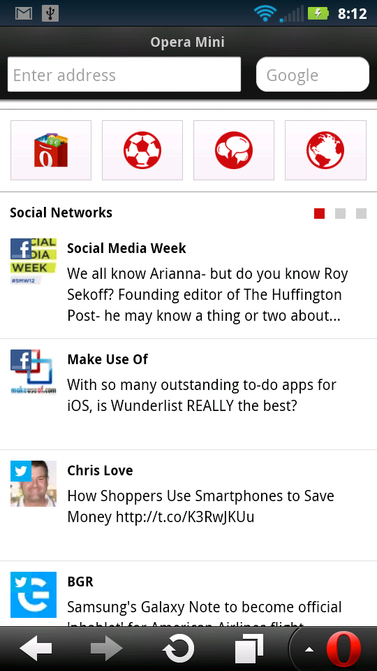 Opera Mini 7.5 Android Smart Page Social Networks