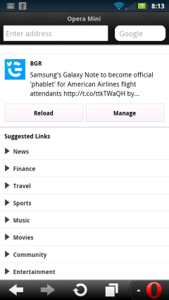 Opera Mini 7.5 Android Smart Page Suggested Links