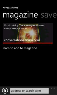Lumia Xpress Browser - Add to Magazine Prompt