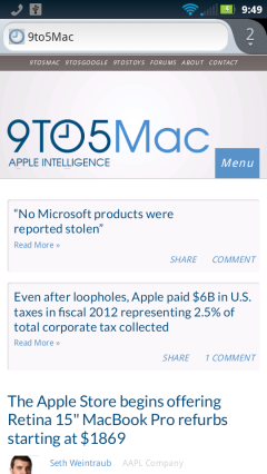 9to5Mac in Firefox Mobile for Android