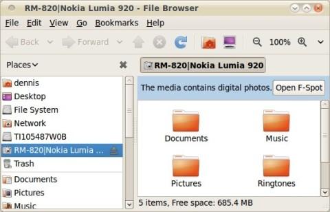 Nokia 920 Filesystem in Linux Nautilus