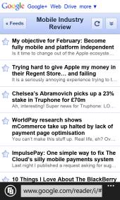 Mobile IE10 - Google Reader