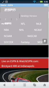 UC Browser Mini 8.6 - ESPN